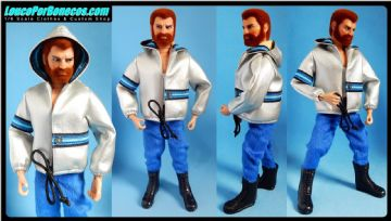 LoucoPorBonecos - FALCON 80 - Original Silver Hoodie and Blue Pants Uniform for Action Man, Gi Joe Etc
